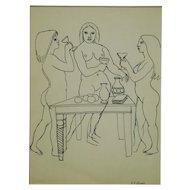 G.J. Rogers: Figure Study of Three Female Nudes Drinking