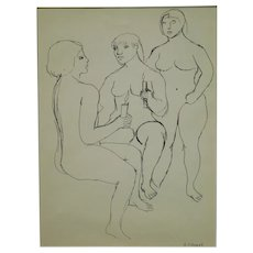 G.J. Rogers: Figure Study Of Three Female Nudes Holding Candles