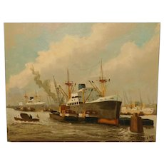 J.H. Peteris: Cargo Ships And Barges In Harbor