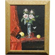 J. Weber, Floral Still Life oil painting