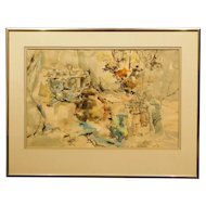 Abstract Still Life watercolor painting signed Britva