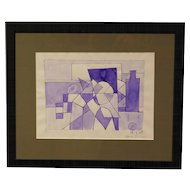 Louis Jordan Abstract Cubist watercolor