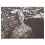 Fish Story 1964 Abstract Portrait Etching