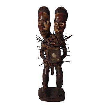Two-Headed Bacongo Nkisi Figure
