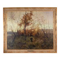 Luscious 1885 Tonalist Landscape Oil Painting By French Master Hyppolyte Alizone