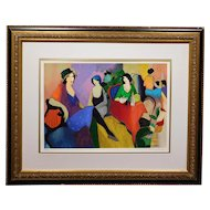 Courtside Poses, Limited edition serigraph by Itzchak Tarkay