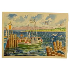 Howard John Besnia: Fishing Boat Watercolor