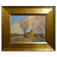 Contemporary Impressionist Old Barn Oil Painting