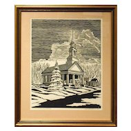 Howard Besnia 1952 Lino-Cut Of Church