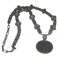 Vintage Dead Pawn Turquoise & Morgan Dollar Navajo Necklace