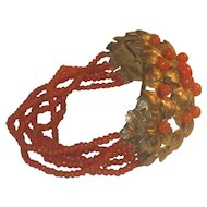 Superb Austro Hungarian Coral Bracelet Gilt over Silver Dogs Head Hallmark