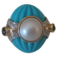 Stunning Vintage Estate 14k Gold, Diamond, Mabe' Pearl, Turquoise & Sapphire Ring
