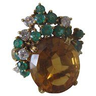 Estate Vintage 18k Gold Citrine Emerald & Diamond Right Hand Ring sz 7.5