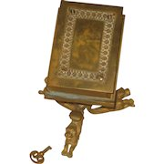 Vintage Bronze Figural Book Bank on Stand with Lock & Key Velvet Lined