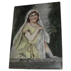 Superb Antique Hand Painted with Enamels Lady Portrait on Tile