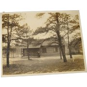Vintage 8 x 10 Real Photo Cabin in Woods with Lady New Jersey 1920's