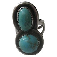 Sterling Silver Vintage Navajo Double Turquoise Ring sz 7.5