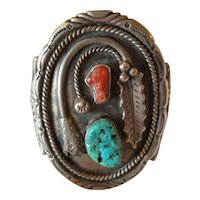 1970' s Huge Early native American Navajo sterling Turquoise and Coral Cuff Bracelet