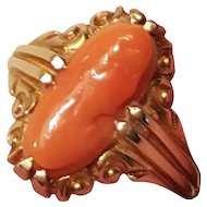 Victorian 14k Yellow Gold Salmon Coral Lady Cameo Ring