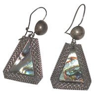 Vintage Taxco Sterling Silver Abalone Shell Dangle Earrings signed JGC