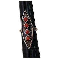 Native American Coral Sterling Shadowbox Ring Zuni