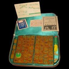 VINTAGE 1964 Mah Jongg Set Butterscotch Bakelite 144 + 4 blank tiles Zip case
