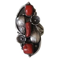 Vintage Native American Navajo Red Coral Squash Blossom Ring signed BB