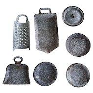 Antique Graniteware Child's or Salesman's Sample Kitchen Pots and Pans Set