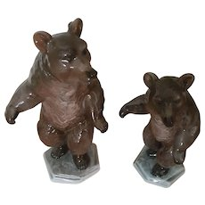 Vintage German Rosenthal T. Heidenreich Design Standing Mother Bear and Cub Porcelain Figurine Pair
