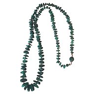 "Vintage Chunky Graduated Polished Malachite Stone Knotted Necklace 800 Silver Fancy Clasp 32"" Long"