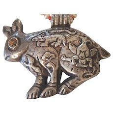 Huge Southwestern Sterling Silver Spiny Oyster Rabbit Fetish Pendant Animal Symbols