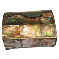 Vintage Alpaca Mexico Trinket Box With Abalone Inlay and Domed Top