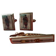 Vintage Porcelain English Cufflinks and Tie Clasp with Beefeater Tower of London Guards