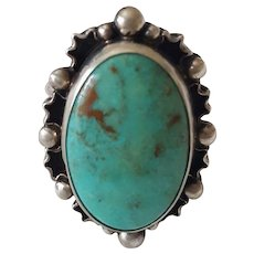 Last Call! Stunning Sterling Silver and Turquoise Ring signed DTR Jay King Mine Finds