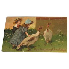 Last Call! Antique Postcard Thanksgiving Greetings Children and Turkeys Printed in Germany