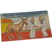 WWII Military Navy Sailor Comic Postcard signed Walt M sent from New York 1945