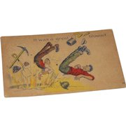 """Antique Comic Postcard """" It Was a Great Blowout"""" Miners Mining 1908 Texas Postmark"""