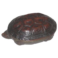 Vintage Bronze Turtle Trinket Box with Lid