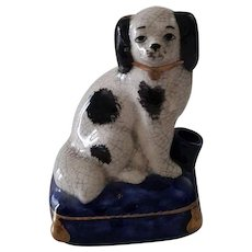 Vintage Staffordshire Spaniel Dog Ink Well Stand for Pen