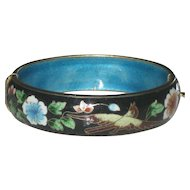 Pretty Vintage Chinese Enamel Cloisonne Bird & Floral Hinged Bangle Bracelet 1960's