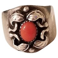Unusual Vintage Sterling Silver and Salmon Coral Wide Band Ring size 7.25