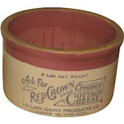 Large 6 lb Antique Red Crown Creamed Cottage Cheese Crock Long Island City