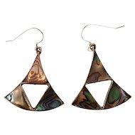 Dramatic Vintage Alpaca & Abalone Dangle Earrings with Sterling Hooks