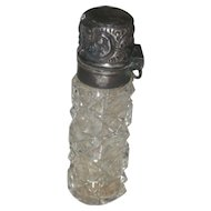 Antique Perfume Scent bottle, Cut Glass With Sterling Hinged Top