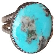 Early Fred Harvey Era Sterling Silver and Turquoise Navajo Ring size 8.25