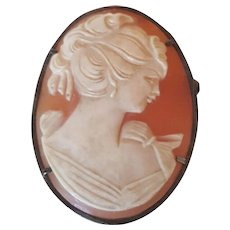 Large Sterling Silver Vintage Carved Lady Cameo Pin, Pendant