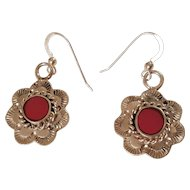 Sterling Silver Red Stone Southwest Style Stamped Design Vintage Dangle Earrings
