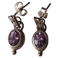 Vintage Sterling Silver Faceted  Amethyst Dangle Earrings