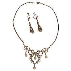 Exceptional Sterling Silver and Paste Demi-Parure Necklace & Dangle Earrings Set Germany