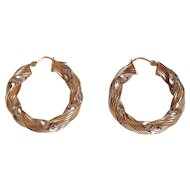 Classic Vintage Sterling Silver & 14k Gold Overlay Braided Hoop Pierced Earrings